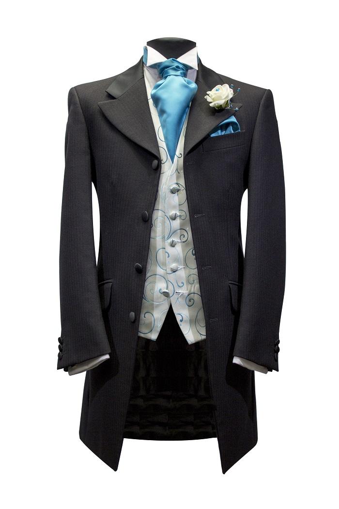 black-teal Edwardian suit