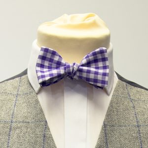 gingham check bow tie in purple