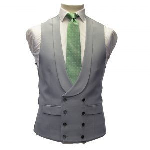 Dove Grey Double Breasted Waistcoat with shawl collar
