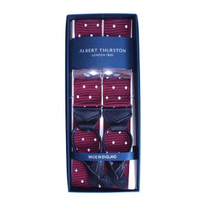 Albert Thurston Braces in burgundy with white polkadot