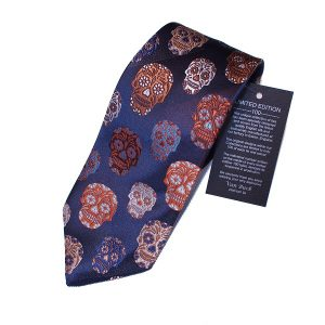 Limited Edition mens silk day of the dead skull tie in navy
