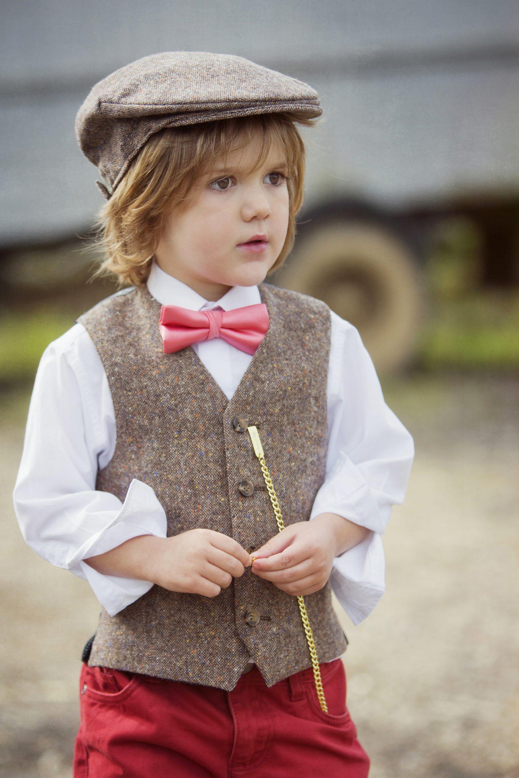 Wedding Pageboy in Brown Tweed Waistcoat and Cap