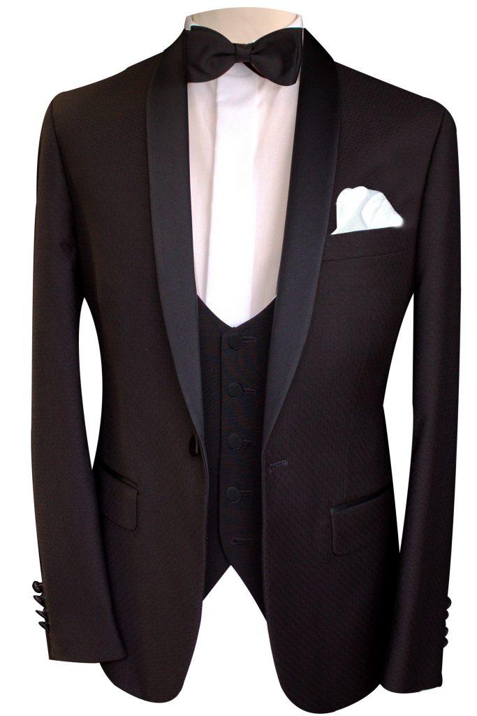 Slim fit black hire dinner suit tuxedo