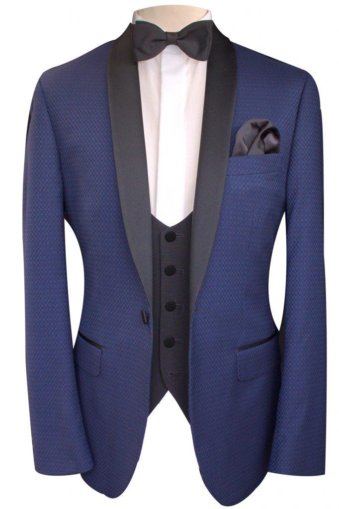 Navy Dinner Suit Tuxedo Jacket with black waistcoat