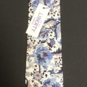 Liberty Fabric white and blue flora floral tie