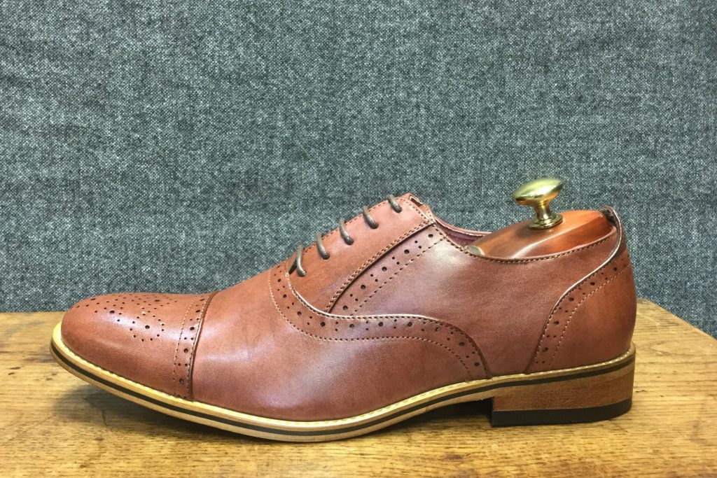 Mid Brown Brogue Formal Wear Mens Shoe