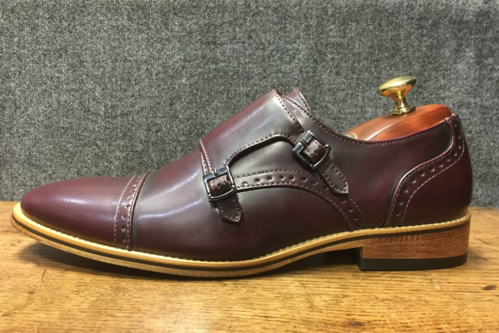 Burgundy Buckle Formal Wear Mens Shoe