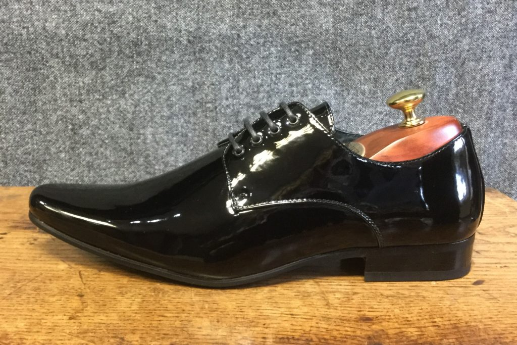 Pointed Black Patent Mens Dress Shoe