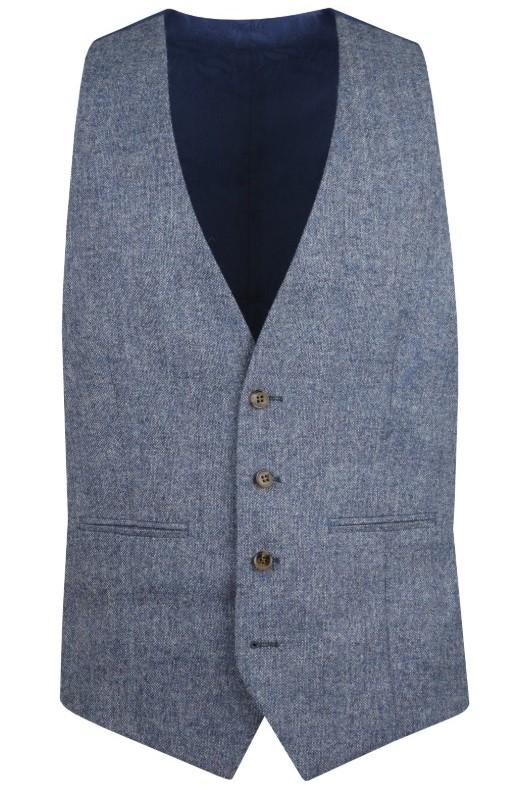 Blue Heritage Tweed Suit Waistcoat