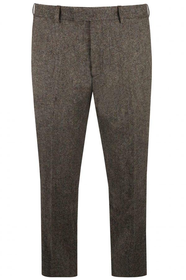 Brown Tweed Mens Suit Trousers