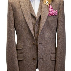 Brown Donegal Tweed Suit with waistcoat, white shirt and burgundy bow tie