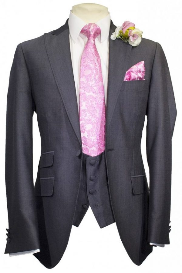 Charcoal Mohair Mens Lounge Suit with scoop waistcoat and pink paisley tie and handkerchief