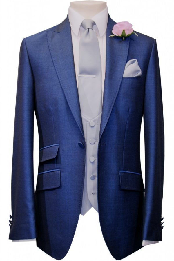 French Navy Mohair Mens Lounge Suit with light grey scoop waistcoat, tie and handkerchief