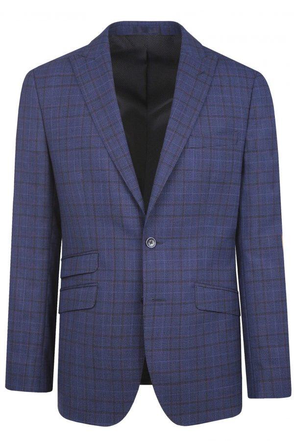 Navy Check Wool Mens Wedding Suit Jacket by Black Tie Menswear, Berkshire