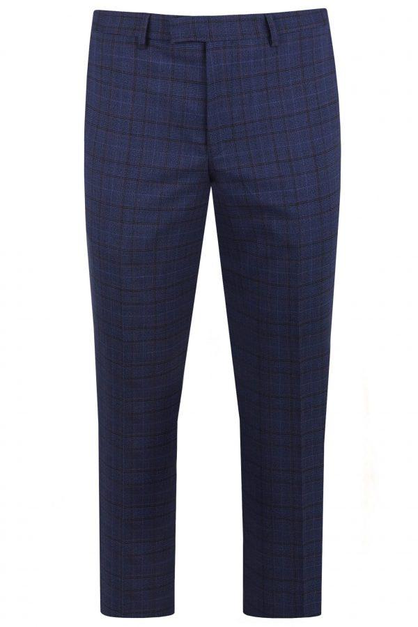 Navy Wool Check Mens Wedding Suit Trousers by Black Tie Menswear, Berkshire