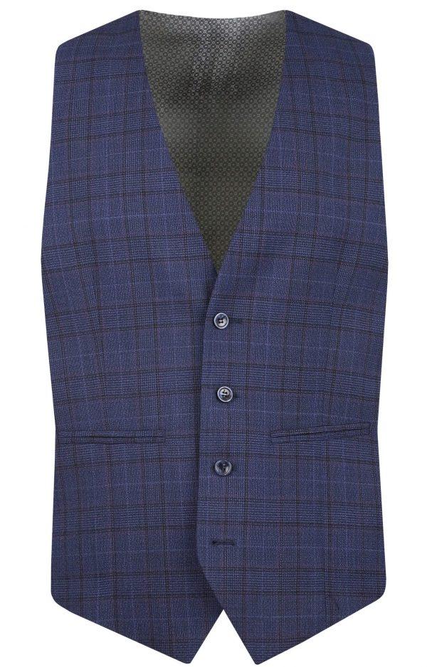 Navy Wool Check Mens Wedding Suit Waistcoat by Black Tie Menswear, Berkshire