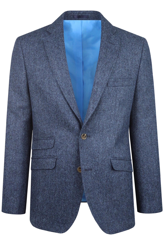 Navy Herringbone Tweed Mens Wedding Suit Jacket by Black Tie Menswear, Berkshire
