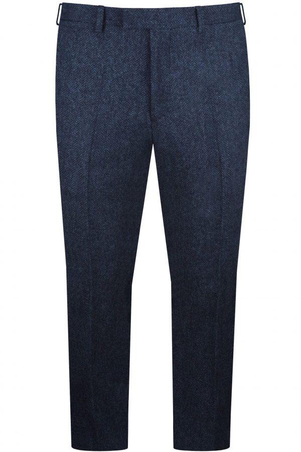 Navy Herringbone Tweed Mens Wedding Suit Trousers by Black Tie Menswear, Berkshire