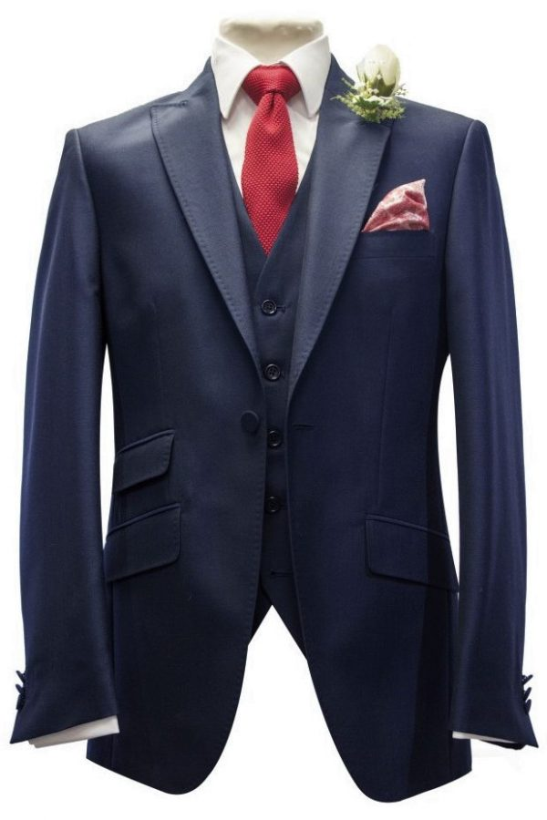 Navy Mohair Mens Lounge Suit with red knitted tie and handkerchief by Black Tie Menswear, Berkshire