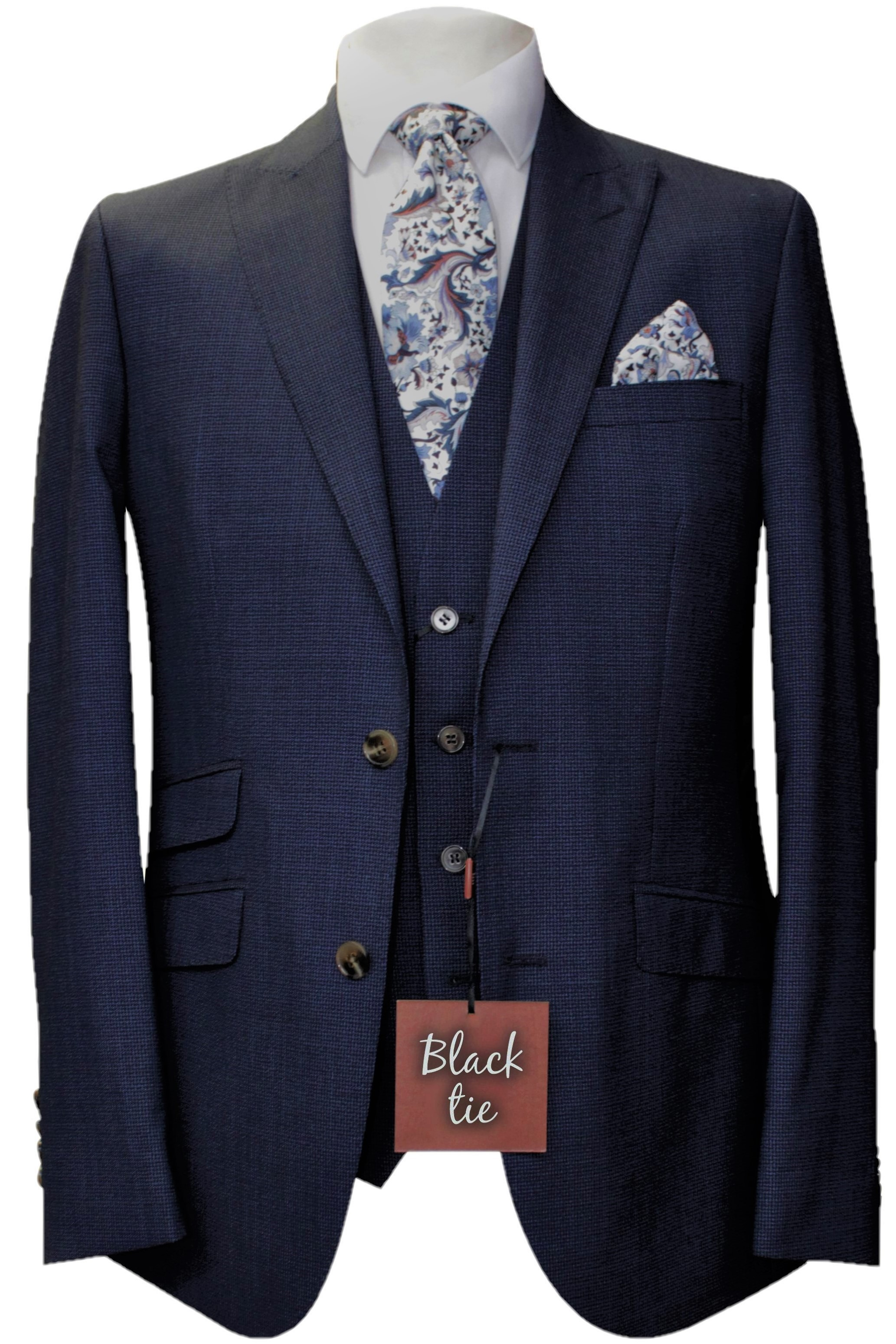 Navy Wool Mens Wedding Suit with Liberty Fabric Tie