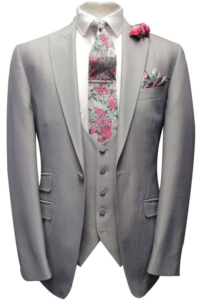 Pearl Grey Mens Wedding Suit with Liberty Fabric tie and handkerchief by Black Tie Menswear, Berkshire