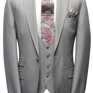 Pearl Grey Mens Wedding Suit with Liberty Fabric tie and handkerchief by Black Tie Menswear, Berkshire