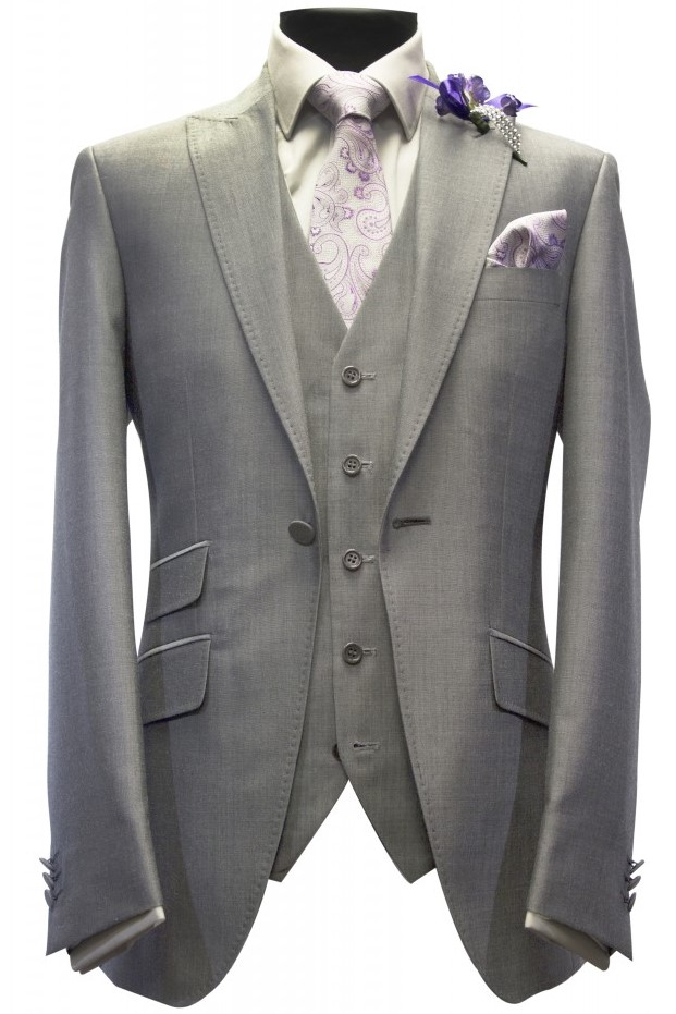 Silver Mohair Mens Wedding Suit with Paisley tie and Handkerchief by Black Tie Menswear, Berkshire