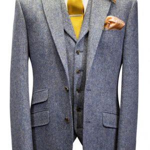 Mens Steel Blue Tweed Wedding Suit with knitted tie and handkerchief by Black Tie Menswear, Berkshire