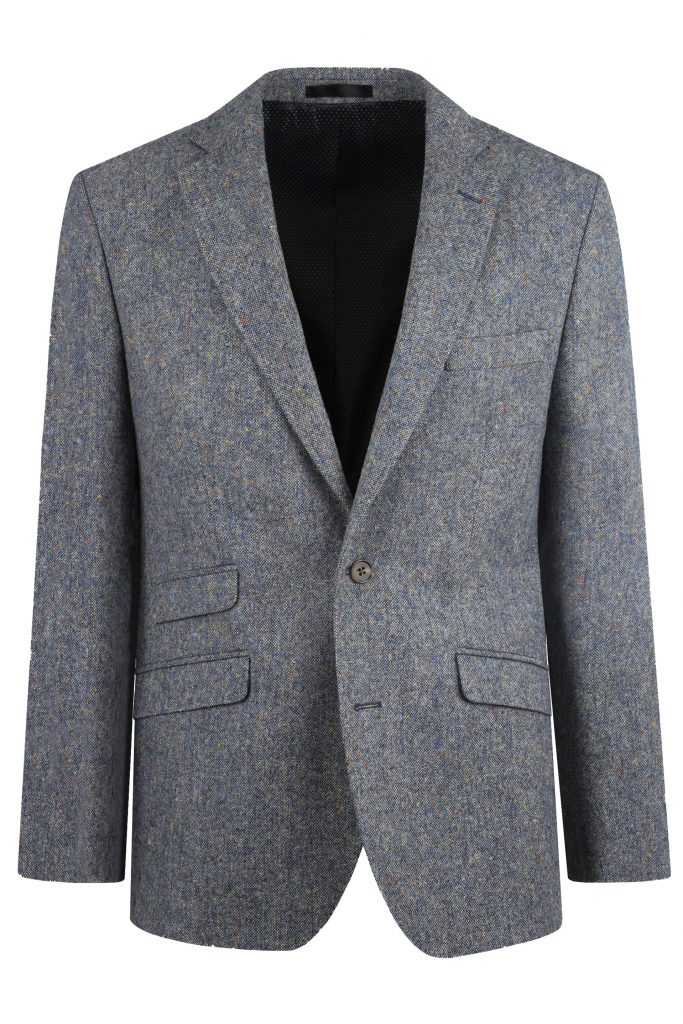 Steel Blue Donegal Tweed Wedding Suit Jacket by Black Tie Menswear, Berkshire