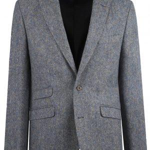 Steel Blue Donegal Tweed Wedding Suit Jacket by Black Tie Menswear, Berkshire