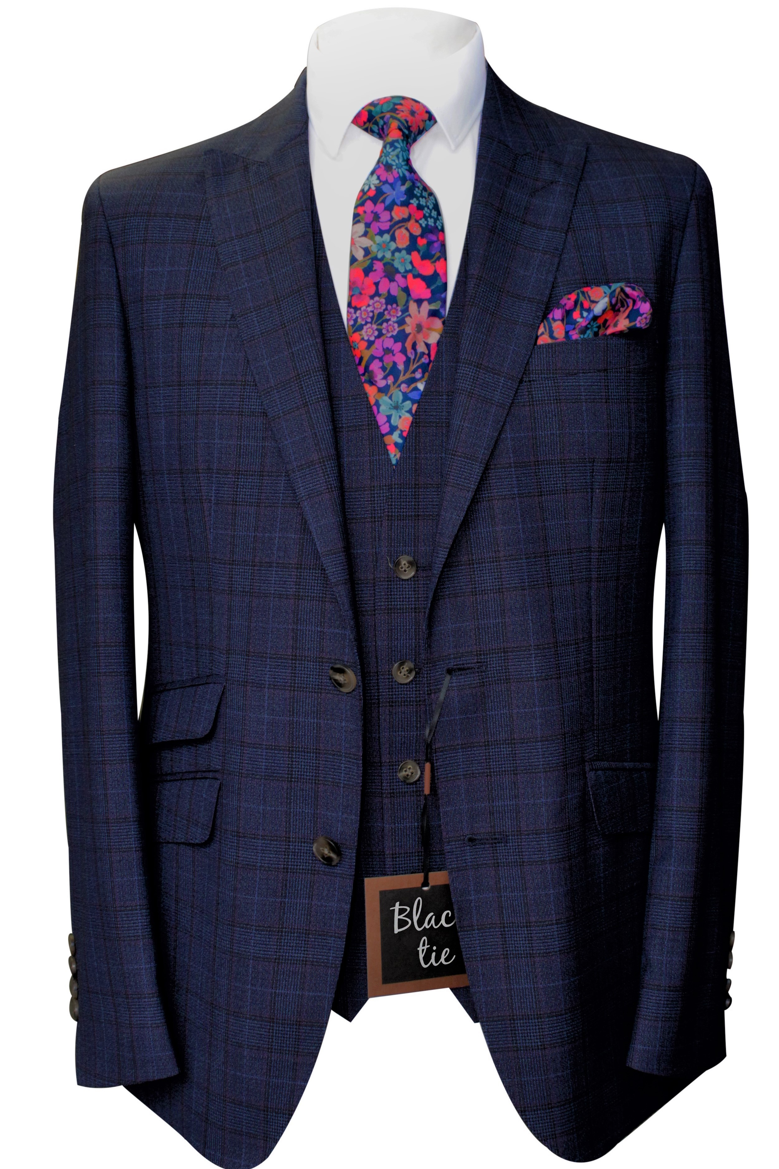 Navy Check Wool Mens Wedding Lounge Suit with floral liberty tie and handkerchief