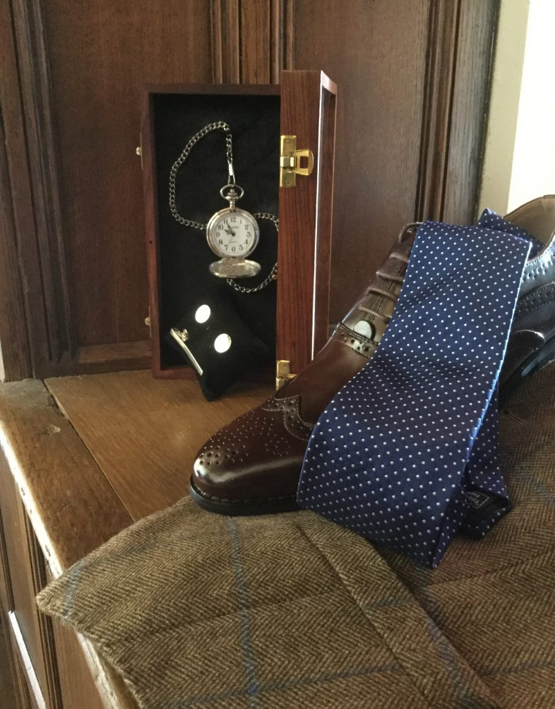 Navy spotted Tie, Brown Brogue Shoe, Silver Pocket Watch, tie bar and cufflinks