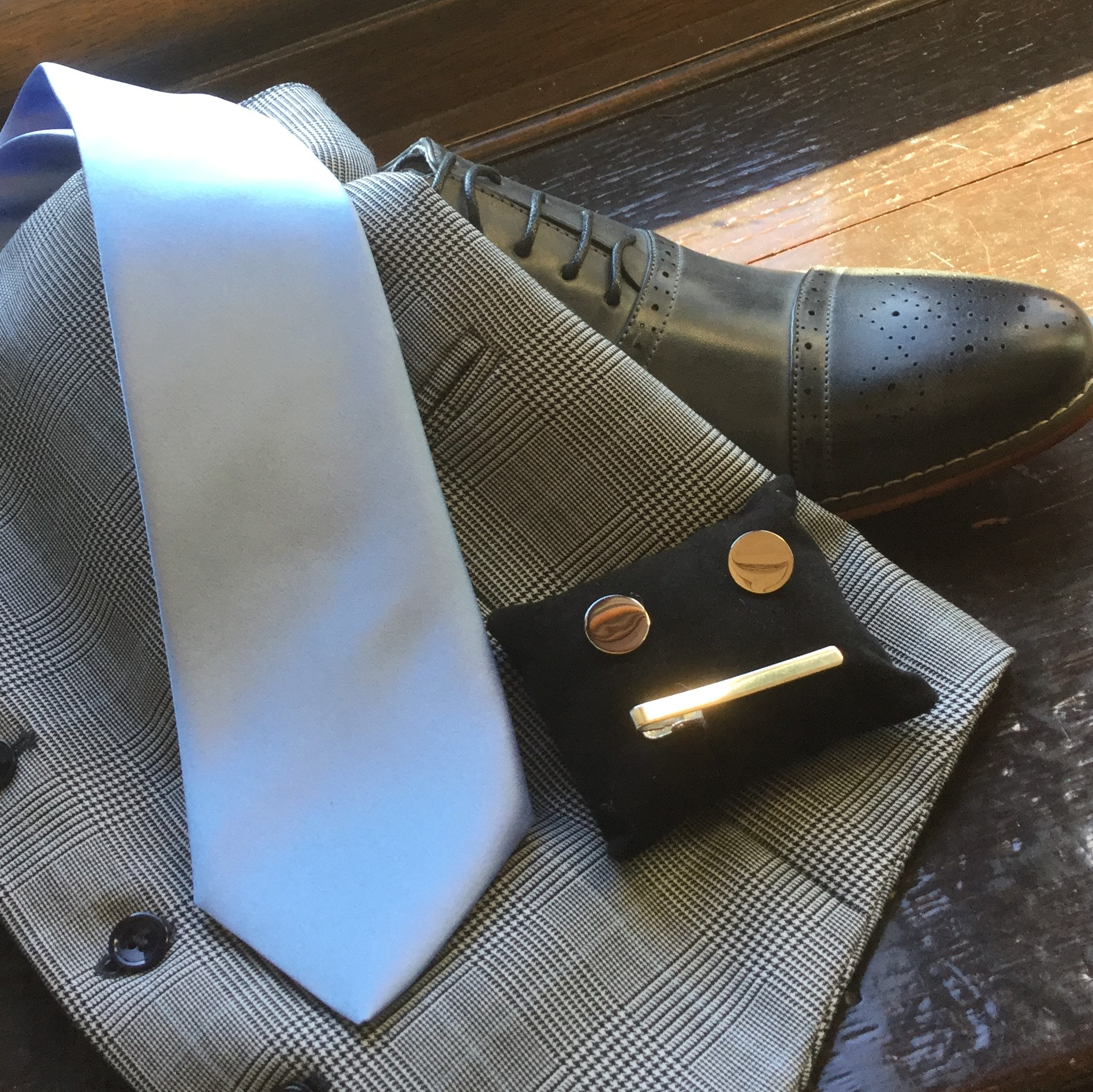 Silver Cufflinks, Tie Bar and Grey Waistcoat, Tie and Brogue Shoes