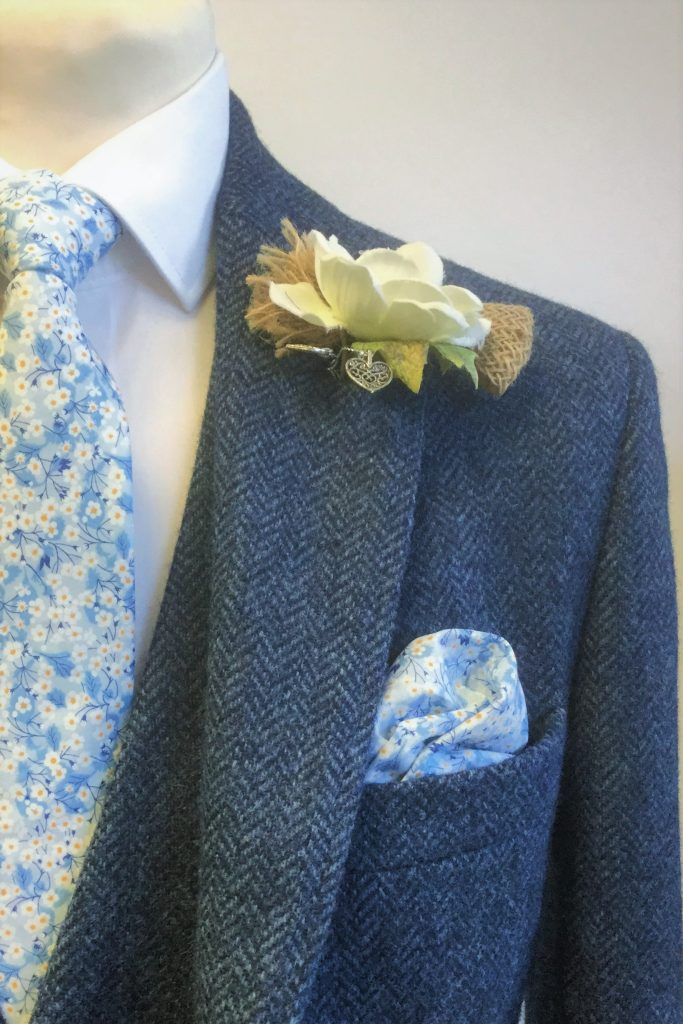 Blue Herringbone Tweed Mens Hirewear Wedding Suit with Mitsi Liberty tie and Handkerchief