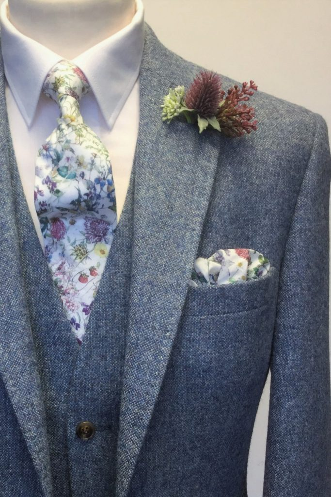 Blue Heritage Tweed Hirewear Wedding Suit with Liberty fabric tie and handkerchief by Black Tie Menswear