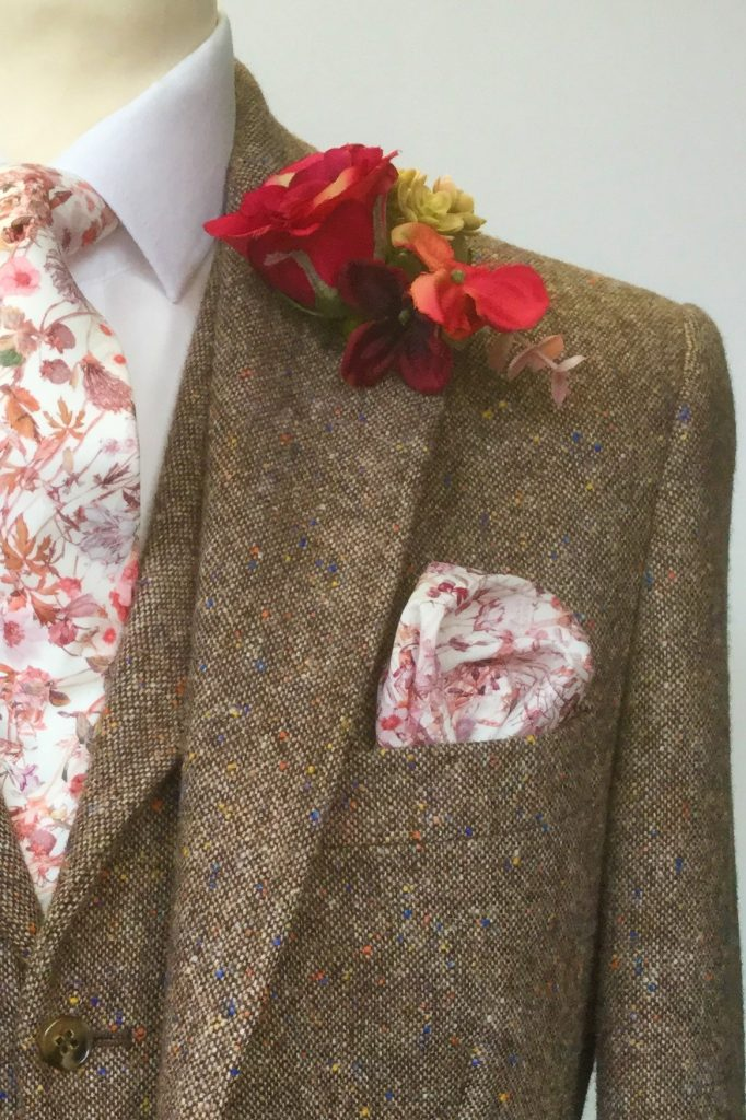 Brown Donegal Tweed Hire Wedding Suit with Liberty fabric tie
