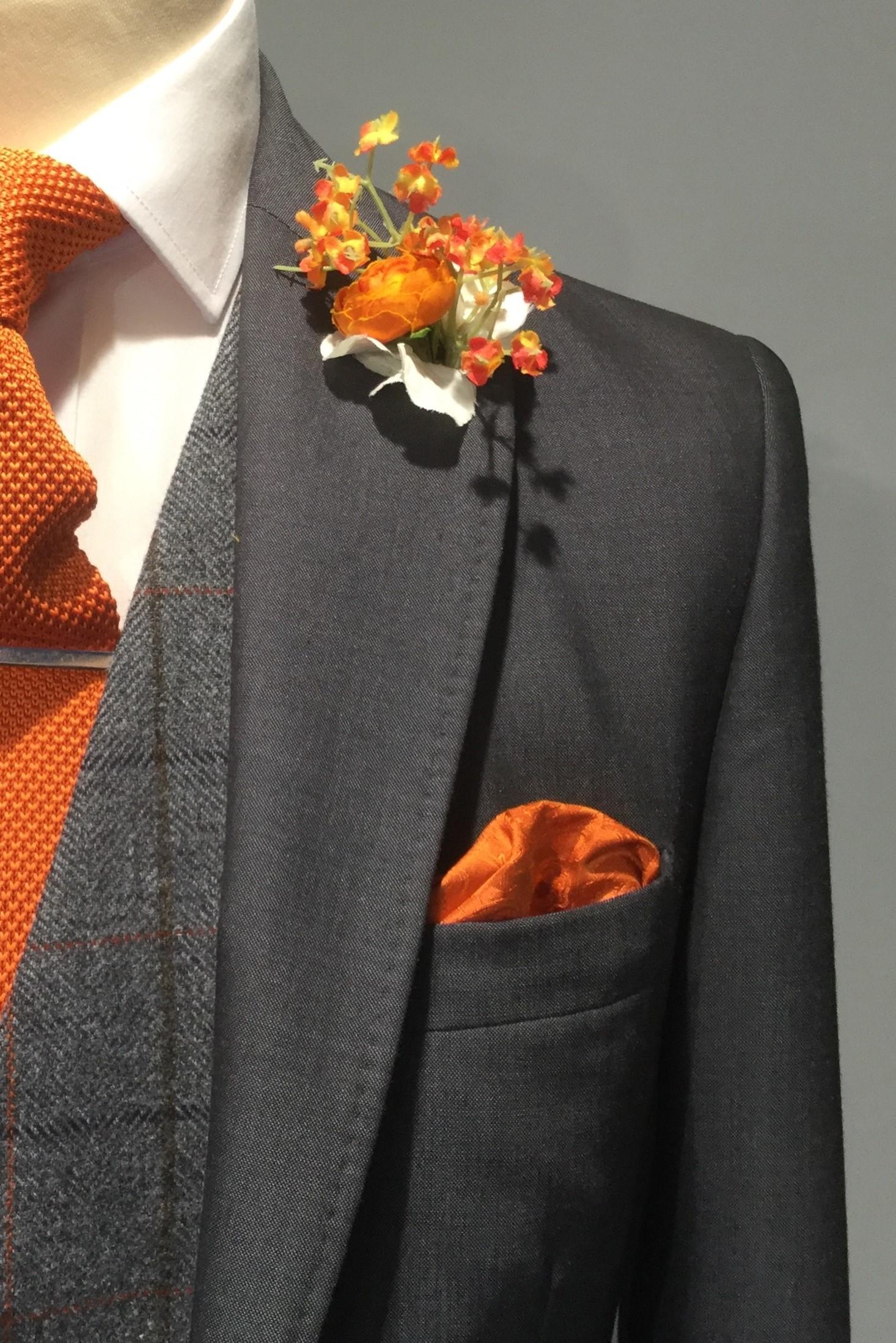 Charcoal Mens Wedding Hire Suit with tweed waistcoat by Black Tie Menswear, Berkshire
