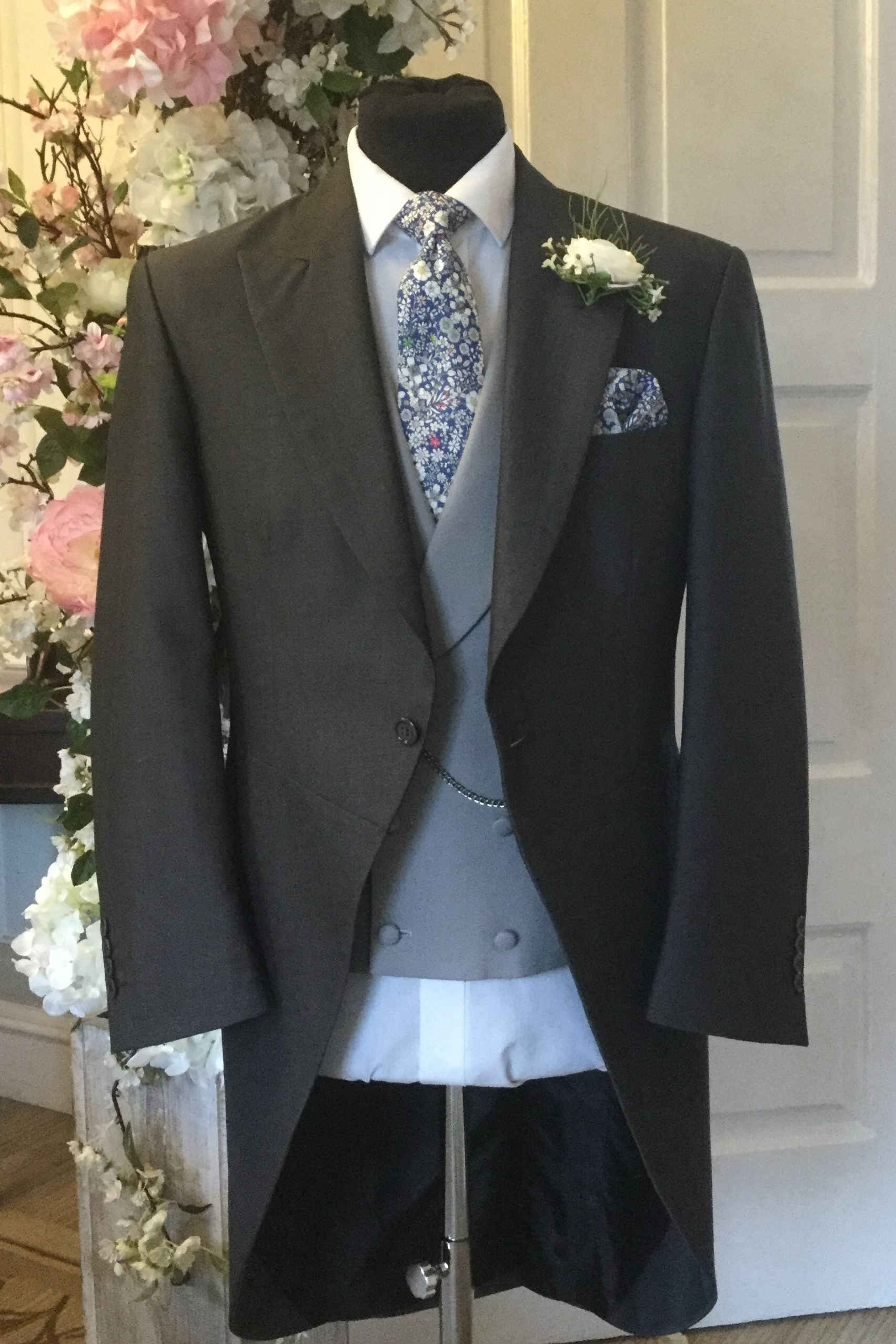 Charcoal Mohair Wedding Morning Suit Hire with Liberty Tie by Black Tie Menswear