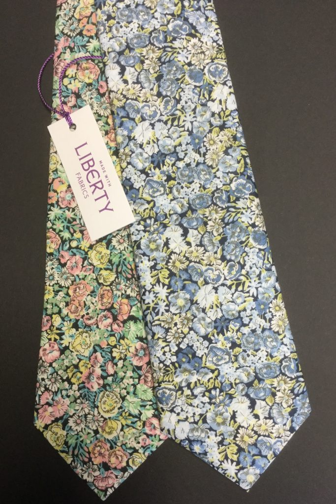 Blue and Green Chive Liberty of London cotton fabric tie