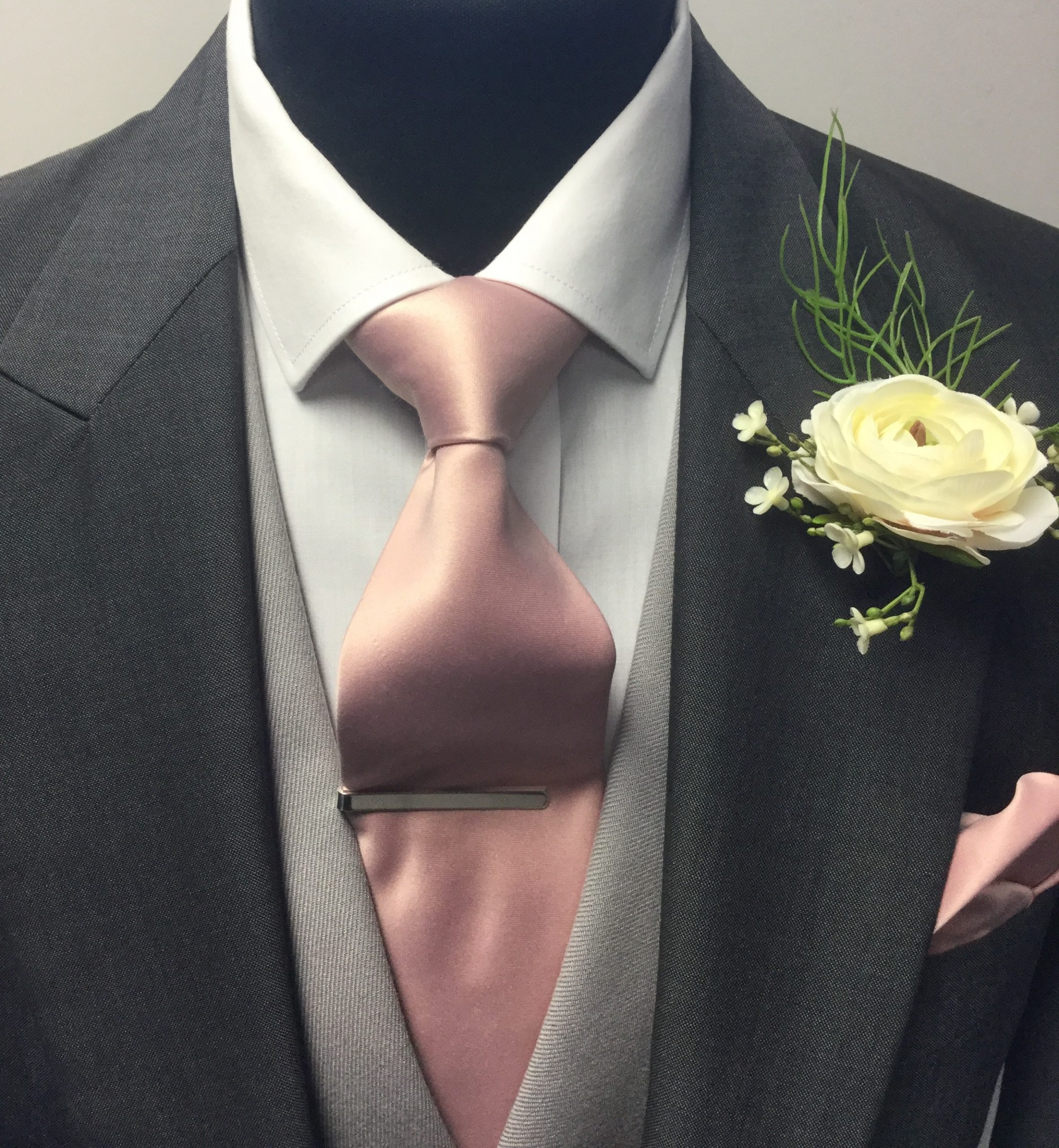 Wedding Dusky Pink Tie and Handkerchief with grey waistcoat and charcoal tailcoat