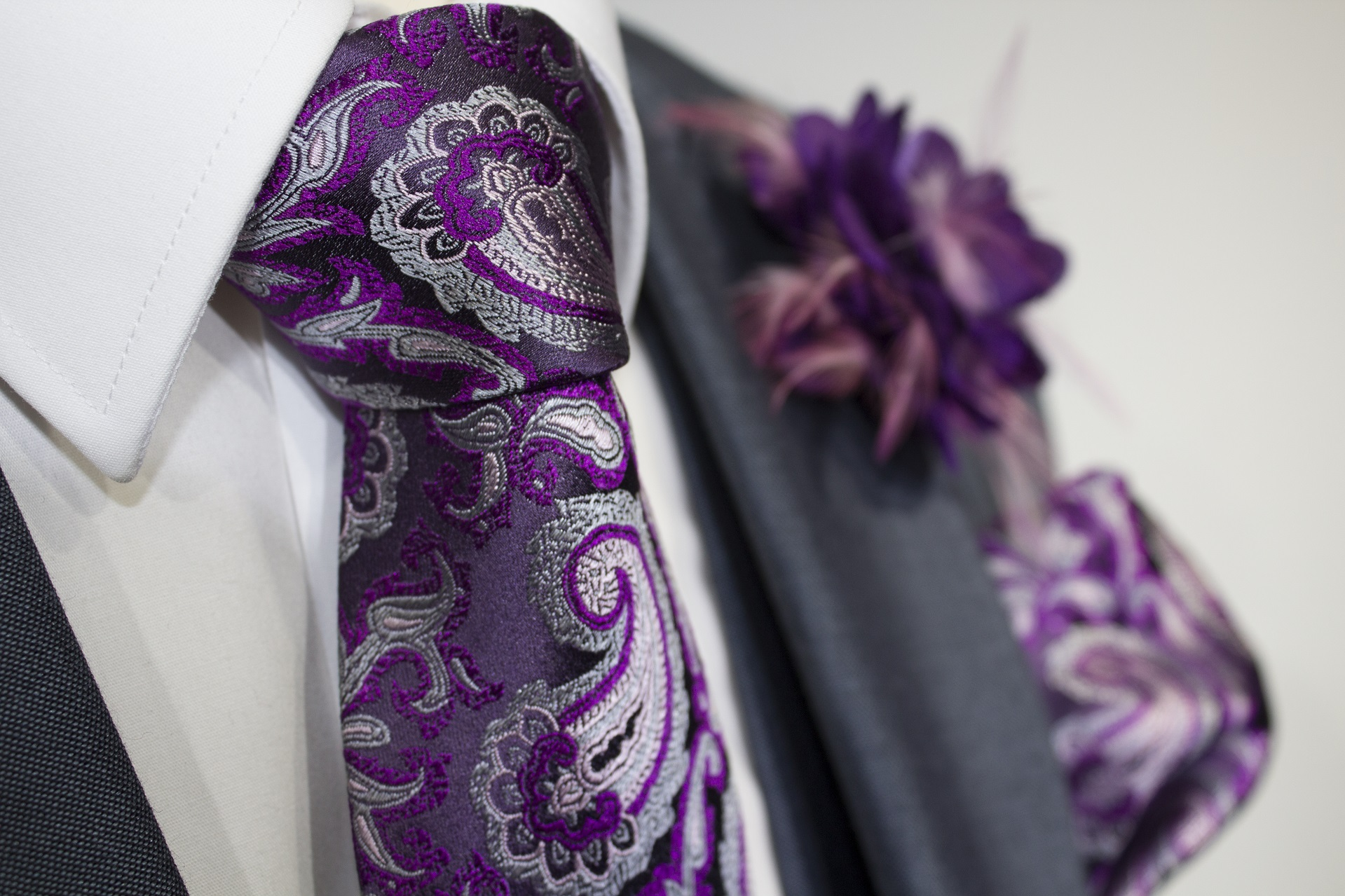 Purple Floral Paisley Tie and Handkerchief on a Navy Wedding Hire Suit