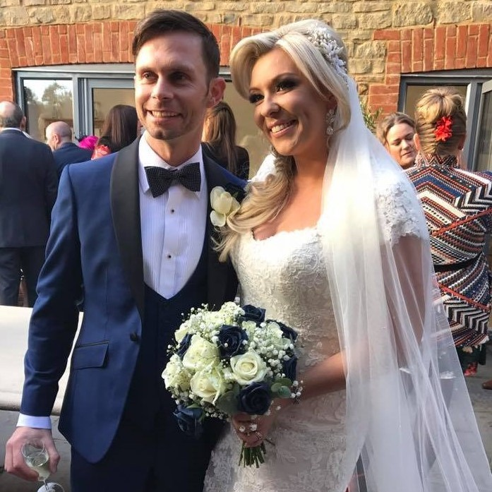 Wedding Bride and Groom wearing Navy three-piece Dinner Suit Tuxedo