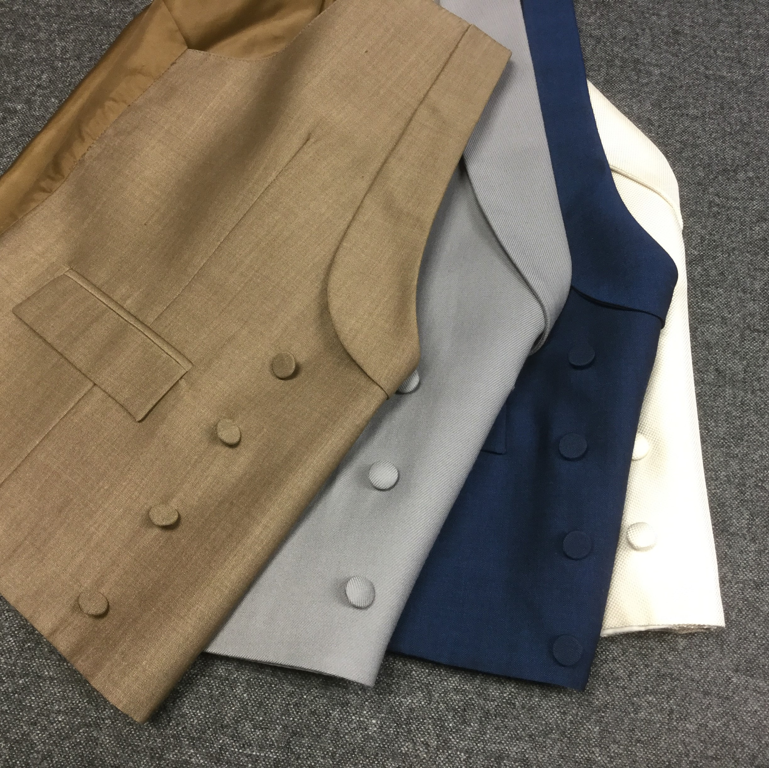 Double Breasted Waistcoats in Caramel, Grey, Royal Blue and Ivory