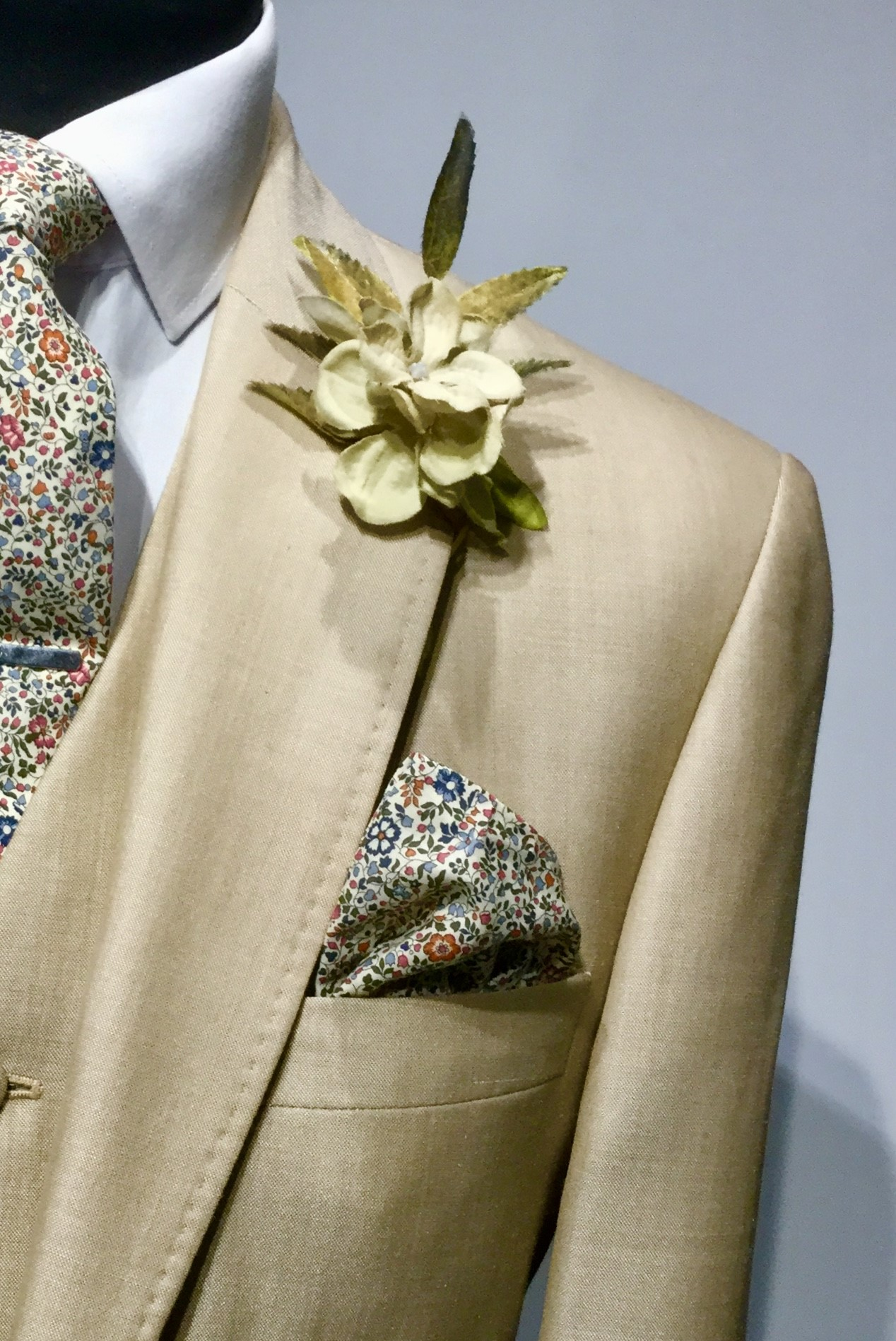 Light Fawn Mens Wedding Hire Suit with Liberty tie by Black Tie Menswear, Berkshire