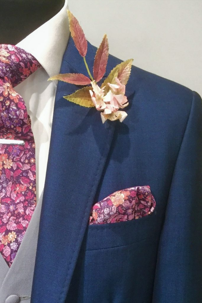 French Royal Navy Mens Wedding Hire Suit with Liberty tie by Black Tie Menswear, Berkshire
