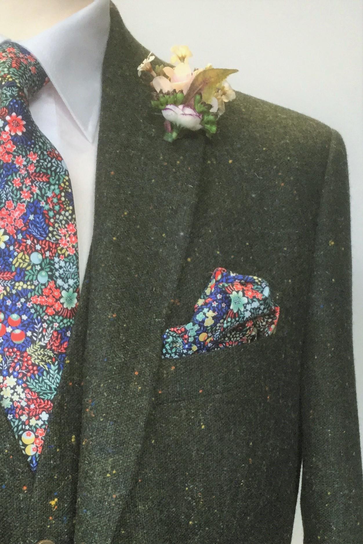 Green Tweed Mens Wedding Suit with Liberty fabric tie