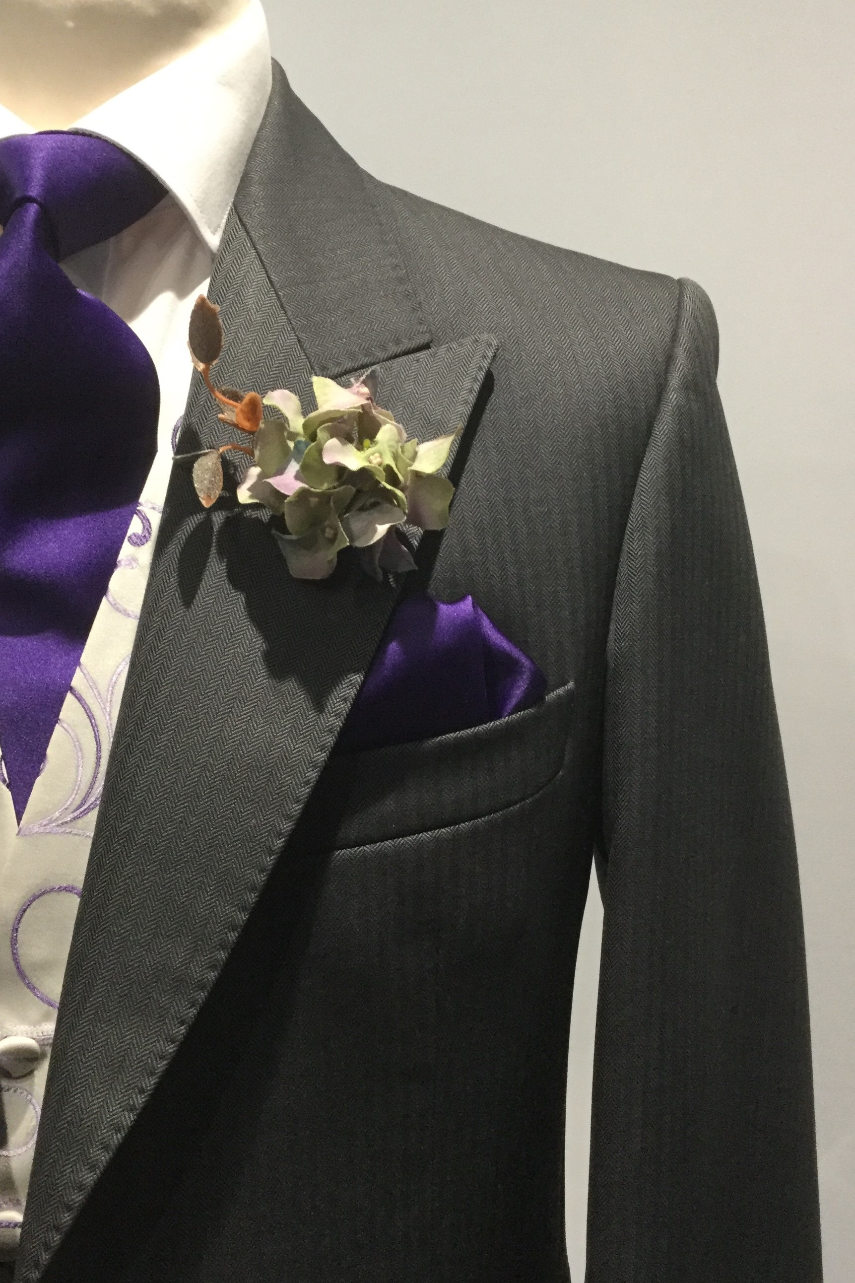 Grey Herringbone Wedding Morning Suit Hire by Black Tie Menswear
