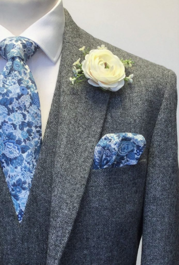 Grey Tweed Mens Wedding Hire Suit with Liberty fabric tie