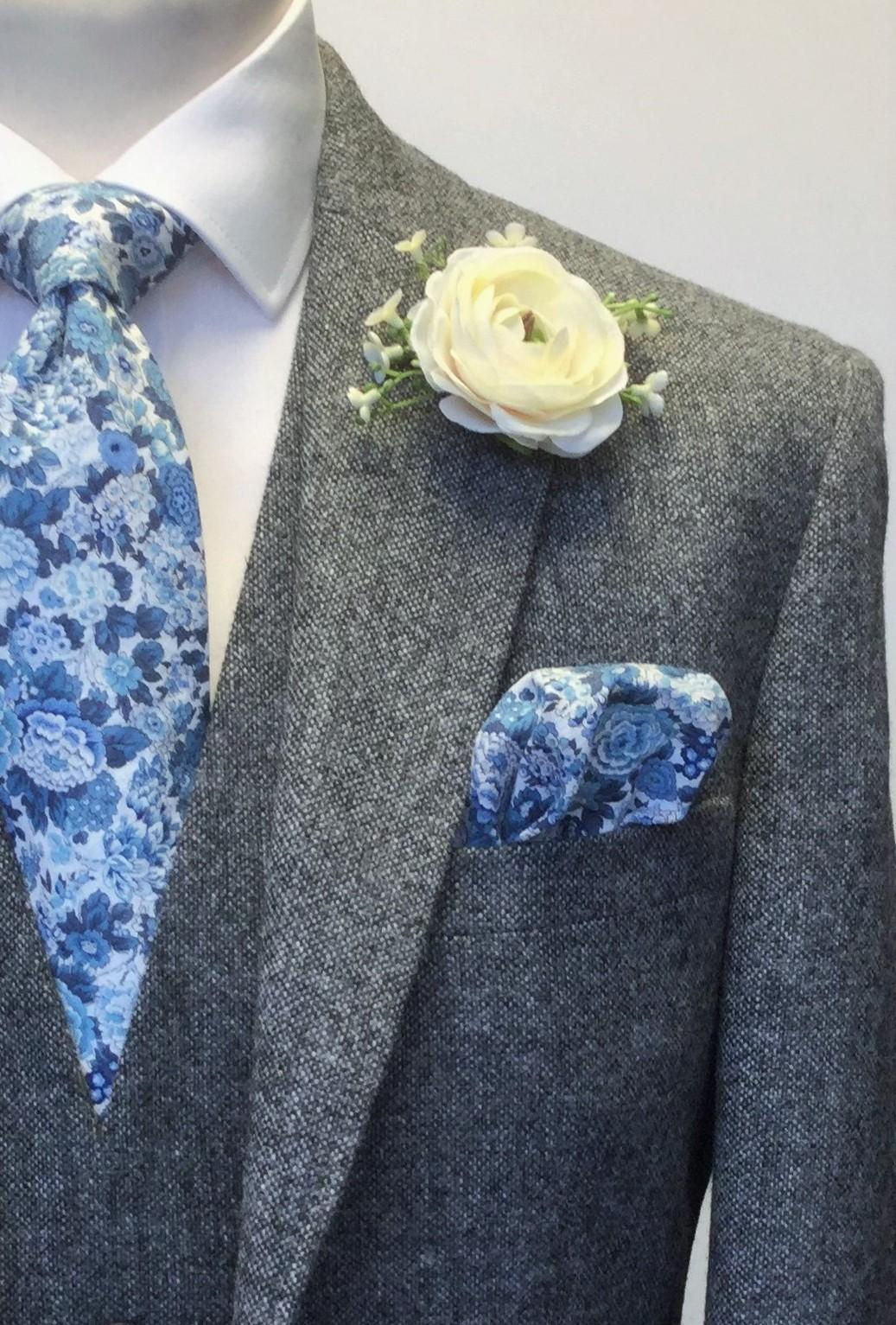 Grey Tweed Mens Wedding Hire Suit with Liberty fabric tie