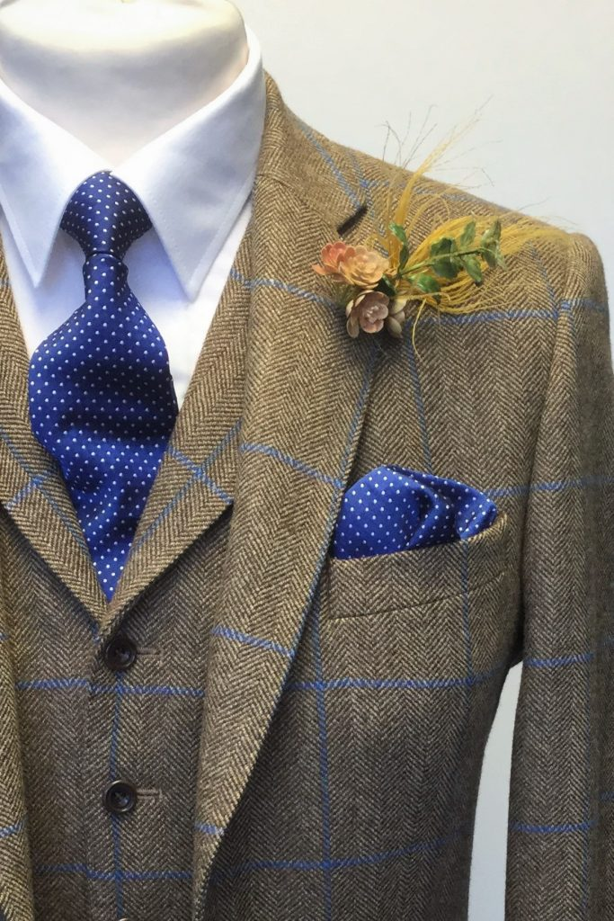 Caramel and Blue Tweed Mens Hire Wedding Suit with navy tie and handkerchief, by Black Tie Menswear, Berkshire